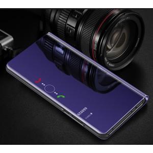 Пластиковый непрозрачный матовый чехол с полупрозрачной смарт крышкой с зеркальным покрытием для Huawei Honor 8X Синий