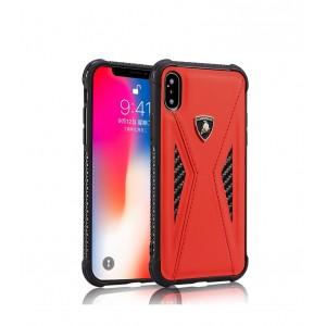Силиконовый матовый непрозрачный чехол с усиленными углами с текстурным покрытием Кожа и декоративной эмблемой для Iphone Xs Max Красный