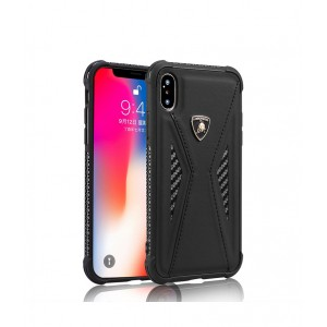 Силиконовый матовый непрозрачный чехол с усиленными углами с текстурным покрытием Кожа и декоративной эмблемой для Iphone Xs Max Черный