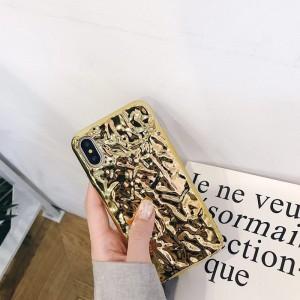 Силиконовый глянцевый непрозрачный чехол с текстурным покрытием Металл для Iphone Xs Max Бежевый