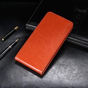 Глянцевый водоотталкивающий чехол вертикальная книжка на силиконовой основе на магнитной защелке для Xiaomi RedMi Note 7  Коричневый