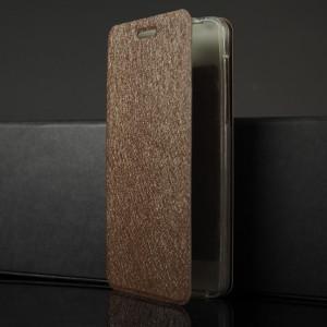 Чехол горизонтальная книжка подставка текстура Золото на силиконовой основе для Nokia 6 Коричневый