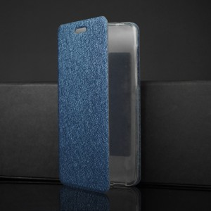 Чехол горизонтальная книжка подставка текстура Золото на силиконовой основе для Nokia 6 Синий
