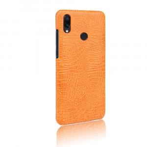 Пластиковый непрозрачный матовый чехол с текстурным покрытием Крокодил для Xiaomi RedMi Note 7  Оранжевый