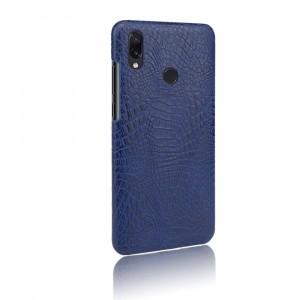 Пластиковый непрозрачный матовый чехол с текстурным покрытием Крокодил для Xiaomi RedMi Note 7  Синий