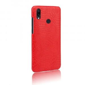 Пластиковый непрозрачный матовый чехол с текстурным покрытием Крокодил для Xiaomi RedMi Note 7  Красный