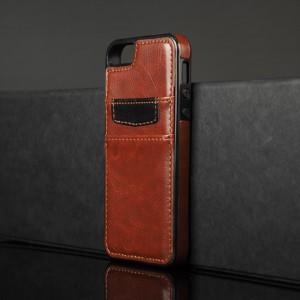 Чехол накладка текстурная отделка Кожа с отсеком для карт для Iphone 5s Коричневый