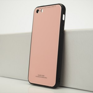 Силиконовый матовый непрозрачный чехол с co стеклянной накладкой для Iphone 5s/5/SE Розовый