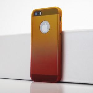 Двухкомпонентный сборный двухцветный пластиковый матовый чехол для Iphone 5s/5/SE Оранжевый