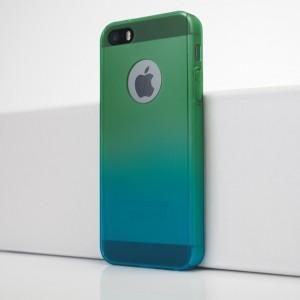 Двухкомпонентный сборный двухцветный пластиковый матовый чехол для Iphone 5s/5/SE Зеленый