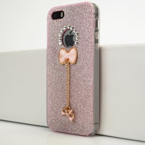 Силиконовый глянцевый полупрозрачный чехол с аппликацией ручной работы и текстурным покрытием Золото и декоративным элементом для Iphone 5s/5/SE Розовый