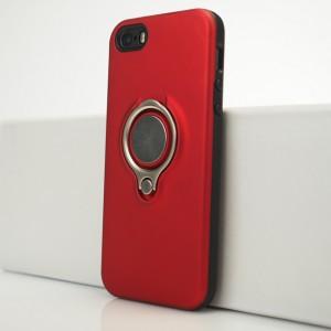 Двухкомпонентный силиконовый матовый непрозрачный чехол с поликарбонатной и крышкой и встроенным кольцом-подставкой для Iphone 5s/5/SE Красный