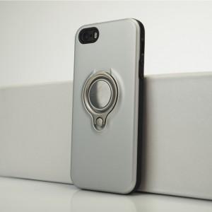 Двухкомпонентный силиконовый матовый непрозрачный чехол с поликарбонатной и крышкой и встроенным кольцом-подставкой для Iphone 5s/5/SE Белый
