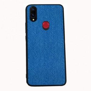 Силиконовый матовый непрозрачный чехол с текстурным покрытием Ткань для Xiaomi RedMi Note 7  Синий