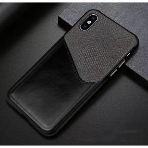 Силиконовый матовый непрозрачный чехол с текстурным покрытием Ткань с отсеком для карт для Iphone Xs Max Черный