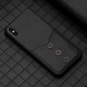 Силиконовый матовый непрозрачный чехол с отсеком для карт и текстурным покрытием Кожа для Iphone Xs Max Черный