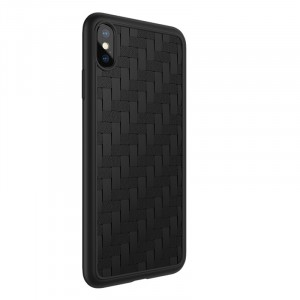 Силиконовый матовый непрозрачный чехол с текстурным покрытием Плетеная кожа для Iphone Xs Max Черный