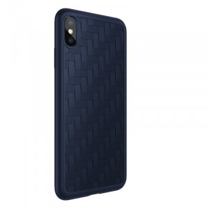 Силиконовый матовый непрозрачный чехол с текстурным покрытием Плетеная кожа для Iphone Xs Max Синий