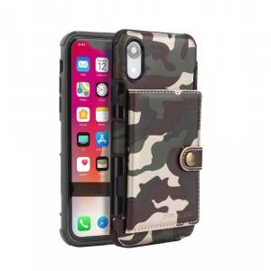Силиконовый матовый непрозрачный чехол с текстурным покрытием Камуфляж и внешним карманом для карт на крепежной застежке для Iphone Xr Зеленый
