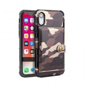 Силиконовый матовый непрозрачный чехол с текстурным покрытием Камуфляж и внешним карманом для карт на крепежной застежке для Iphone Xr Коричневый