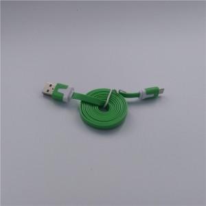 Кабель USB-Micro USB 2.0 силиконовый антизапутывающийся плоского сечения 1м Зеленый