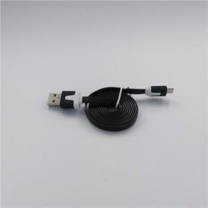 Кабель USB-Micro USB 2.0 силиконовый антизапутывающийся плоского сечения 1м Черный