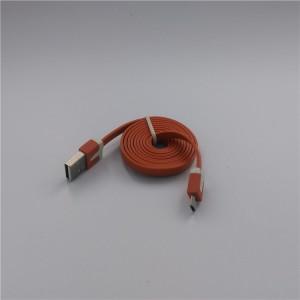 Кабель USB-Micro USB 2.0 силиконовый антизапутывающийся плоского сечения 1м Оранжевый