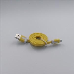 Кабель USB-Micro USB 2.0 силиконовый антизапутывающийся плоского сечения 1м Желтый