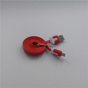 Кабель USB-Micro USB 2.0 силиконовый антизапутывающийся плоского сечения 1м Красный