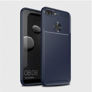 Силиконовый матовый непрозрачный чехол с текстурным покрытием Карбон для Huawei Honor 9 Lite Синий