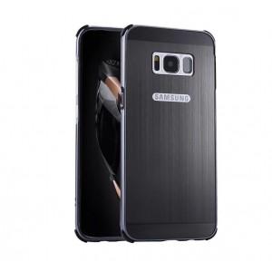 Двухкомпонентный чехол c металлическим бампером с поликарбонатной накладкой и текстурным покрытием Металлик для Samsung Galaxy S8 Черный