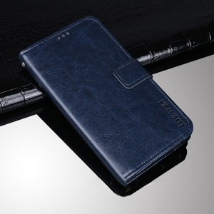Глянцевый водоотталкивающий чехол портмоне подставка на силиконовой основе с отсеком для карт на магнитной защелке для Huawei Honor 8 Синий