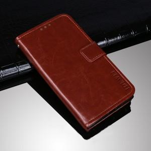 Глянцевый водоотталкивающий чехол портмоне подставка на силиконовой основе с отсеком для карт на магнитной защелке для Huawei Honor 8 Коричневый