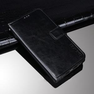 Глянцевый водоотталкивающий чехол портмоне подставка на силиконовой основе с отсеком для карт на магнитной защелке для Huawei Honor 8 Черный
