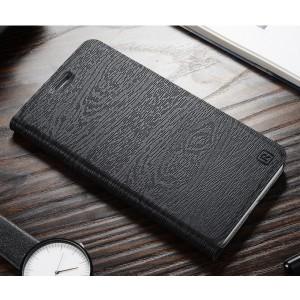 Чехол горизонтальная книжка подставка текстура Дерево на пластиковой основе с отсеком для карт для Huawei Honor 8 Черный