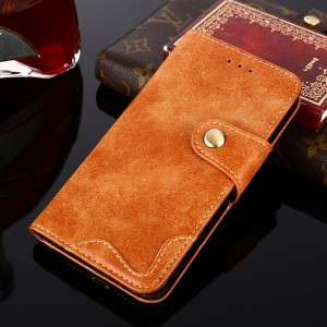 Винтажный чехол портмоне подставка на силиконовой основе с отсеком для карт на крепежной застежке для Samsung Galaxy A5 (2016) Бежевый