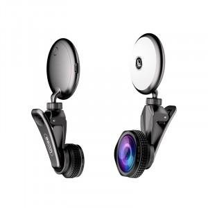 Набор из 3 объективов (макро, широкоугольный, рыбий глаз) с роторной вспышкой на клипсе-держателе Черный