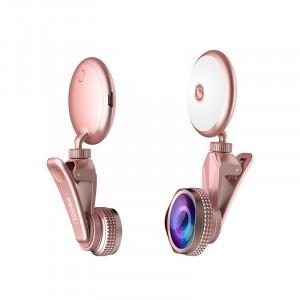 Набор из 3 объективов (макро, широкоугольный, рыбий глаз) с роторной вспышкой на клипсе-держателе Розовый