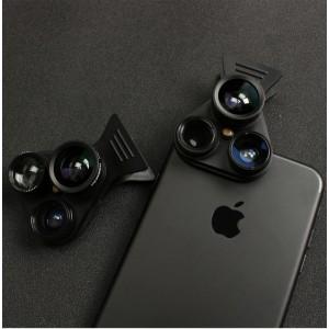 Набор роторных съемных объективов 5в1 (широкоугольный, рыбий глаз, макро-, теле- и CPL-объектив) на универсальной клипсе