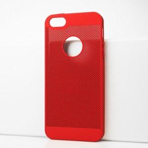 Пластиковый полупрозрачный матовый чехол с текстурой Точки для Iphone 5s Красный