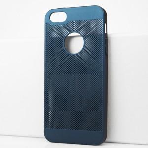 Пластиковый полупрозрачный матовый чехол с текстурой Точки для Iphone 5s Синий