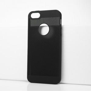 Пластиковый полупрозрачный матовый чехол с текстурой Точки для Iphone 5s Черный