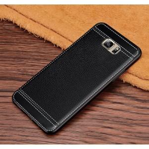 Силиконовый матовый непрозрачный чехол с текстурным покрытием Кожа для Samsung Galaxy S6 Черный