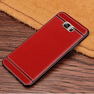Силиконовый матовый непрозрачный чехол с текстурным покрытием Кожа для Samsung Galaxy S6 Красный
