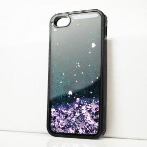 Силиконовый матовый непрозрачный чехол c внутренней аква-аппликацией для Iphone 5s Фиолетовый