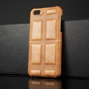Чехол накладка текстурная отделка Кожа для Iphone 5s/5/SE Бежевый