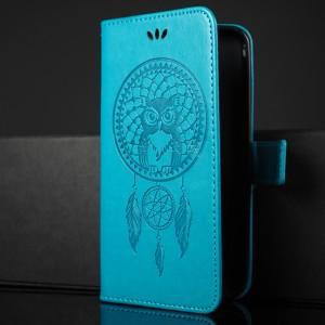 Чехол портмоне подставка текстура Узоры на силиконовой основе с отсеком для карт на магнитной защелке для ASUS ZenFone Max Голубой