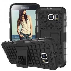 Противоударный двухкомпонентный силиконовый матовый непрозрачный чехол с нескользящими гранями и поликарбонатными вставками экстрим защиты с встроенной ножкой-подставкой для Samsung Galaxy S6 Черный