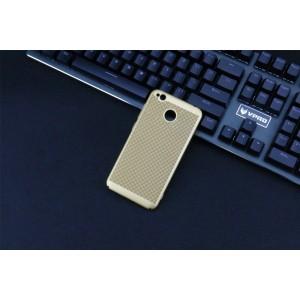 Пластиковый полупрозрачный матовый чехол с улучшенной защитой элементов корпуса и текстурным покрытием Точки для Xiaomi RedMi 4A Бежевый