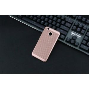 Пластиковый полупрозрачный матовый чехол с улучшенной защитой элементов корпуса и текстурным покрытием Точки для Xiaomi RedMi 4A Розовый
